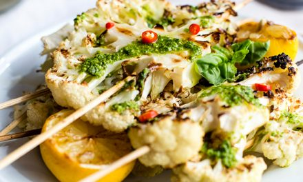 Cauliflower Skewers with Pesto Drizzle