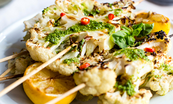 Cauliflower Skewers with Pesto Drizzle